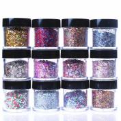 ECBASKET 12 Jars Cewest Hexagon Shinning Glitter Powder Nail Powder Slices