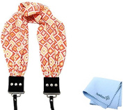 Capturing Couture Geovanie Coral Scarf Super Comfortable Camera Strap and a Bonus Ivation Spot Cleaning Cloth