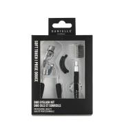 Danielle Soft Touch Stainless Steel Duo Eyelash Curler Brow Brush Set, Black