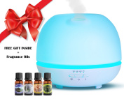 Aromatherapy Essential Oil Diffuser - 500 ML Cool Mist Air Purifier, Atomizer & Aromatherapy Diffuser With 7 Changing Colours LED Lights 3 working modes. Four 100% Natural Scented Oils Included