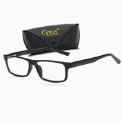 Cyxus Blue Light Filter (Transparent Lens) Better Sleep Block UV Rectangle Reading Computer Glasses, Great for Anti Glare Blocking Headaches Eye Strain