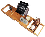 ModernTropic Deluxe Bamboo Bathtub Caddy - Updated for Stability and Durability - Ideal Shower and Bath Tray Organiser - Bath Rack Holds Drink, Book/Tablet, Candles, Bathroom Accessories and Phone