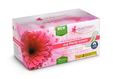 Everteen Natural Cotton Top Daily Panty Liners, unscented, 36 count
