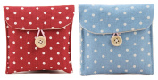 GBSTORE 2 Pcs 1 Red and 1 Blue Sanitary Napkins Bag Menstrual Cup Pouch Nursing Pad Holder Cute Polka Dot Cotton 12cm x 12cm Washable Organiser Storage