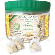 "Ginseng from Wisconsin, USA #1 Best Taste Premium Fresh Farmers Market Quality. Big Double-Sealed Artisan Product, Original Green Lid ""You'll Love it"" Henry's Guarantee"