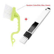 Trycooling 2-in-1 Multipurpose Detachable Window Groove Corner Keyboard Hand-held Groove Gap Door (Dustpan Cleaning Brushes + Window Track Cleaning Brushes-Random Colour