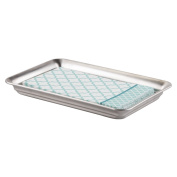 mDesign Vanity Organiser Tray for Hand Towels, Makeup, Beauty Products - Brushed Stainless Steel
