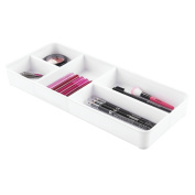mDesign Cosmetic Organiser Tray for Vanity Cabinet to Hold Makeup, Beauty Products - White