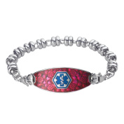 Divoti Custom Engraved Blooming Cherry Medical ID Wrapped Link Bracelet-TP Blue