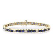 3.25 Carat Diamond Bracelet With 7.50 Carat Sapphire Channel Set 14k Yellow Gold