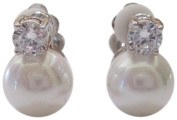 """CZ by Kenneth Jay Lane """"Classic"""" CZ and 10 mm Freshwater Pearl Stud Clip Earrings"""