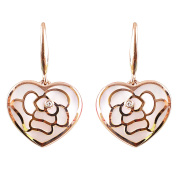 Unique 9K High Polished Rose Gold with Pink Pearl and 0.02ct Diamond Wonderful Earrings