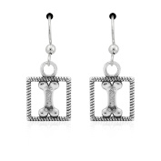 Sterling Silver Dog Bone in a Box Dangle Earrings on French Wires
