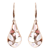 Awesome 9K Rose Gold White and Pink Mother of Pearl and 0.04ct Natural Diamond Fine Earring