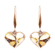 Vintage 9K High Polished Rose Gold with Yellow Pearl and 0.02ct Diamond Beautiful Earring