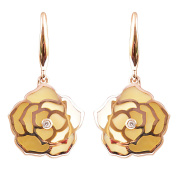 Unique 9K High Polished Rose Gold with Yellow Pearl and 0.02ct Diamond Wonderful Earring
