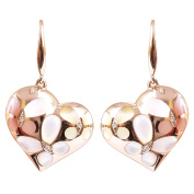 Vintage 9K High Polished Rose Gold with Pink ,Yellow and White Pearl and 0.02ct Diamond Beautiful Earrings