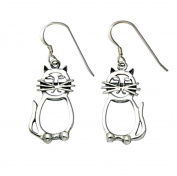 Sterling Silver Cat w/Whiskers Cutout Wire Earrings