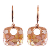9K High Polished Rose Gold with Pink Pearl and 0.01ct Diamond Gorgeous Earrings
