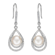 EleQueen 925 Sterling Silver CZ Cream Freshwater Cultured Pearl Teardrop Layer Bridal Hook Earrings Clear Rhodium Plated
