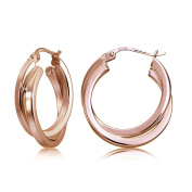 Sterling Silver Square-Tube Double Twisted 15mm Round Hoop Earrings