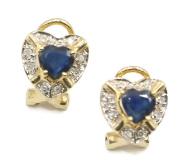 Sapphire Blue Stud Earrings,Diamonds & 14K Yellow Gold Omega Backs