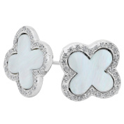 925 Sterling Silver CZ Stud Earrings Cross Mother of Pearl Clear CZ Accent post with friction push back