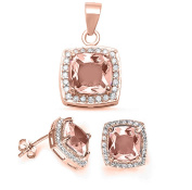 Jewellery Set Pendant Earring Cushion Simulated Morganite Round CZ Rose Gold Plated 925 Sterling Silver