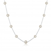 """JFUME 7-8mm Off Round Cultured Freshwater Pearl Necklace 925 Sterling Silver Chain 18"""",Women"""