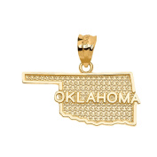Oklahoma State Map Charm Pendant in 14k Yellow Gold