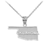 Oklahoma State Map Pendant Necklace in 14k White Gold