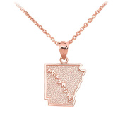 Arkansas State Map Pendant Necklace in 14k Rose Gold