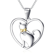 YFN Christmas Birthday Silver Jewellery Gift 925 Sterling Lovely Heart Cat Necklace