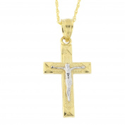 10k Yellow and White Gold Two-Tone Crucifix Cross Pendant Necklace