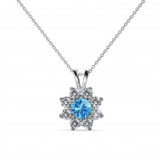 Blue Topaz and Diamond Floral Halo Pendant 0.58 ct tw in 14K White Gold with 46cm 14K Gold Chain