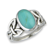 .925 Sterling Silver Filigree Celtic Blue Oval Ring, Size 6