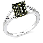 RINGJEWEL 2.64 ct SI3 Emerald Moissanite Solitaire Silver Plated Engagement Ring Brown Colour Size 7