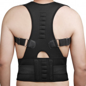 Medical-Grade Adjustable Magnetic Posture Support Back Brace - Relieves Neck, Back and Spine Pain - Improves Posture (Small)
