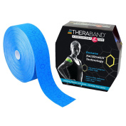 TheraBand Kinesiology Tape, Physio Tape for Pain Relief, Muscle Support, and Injury Recovery, Standard Roll with XactStretch Application Indicators, 5.1cm x 31m Bulk Roll, Blue/Blue