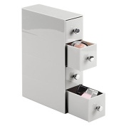 mDesign 4-Drawer Cosmetic Organiser for Makeup, Beauty Products - Flip Tower, Light Grey