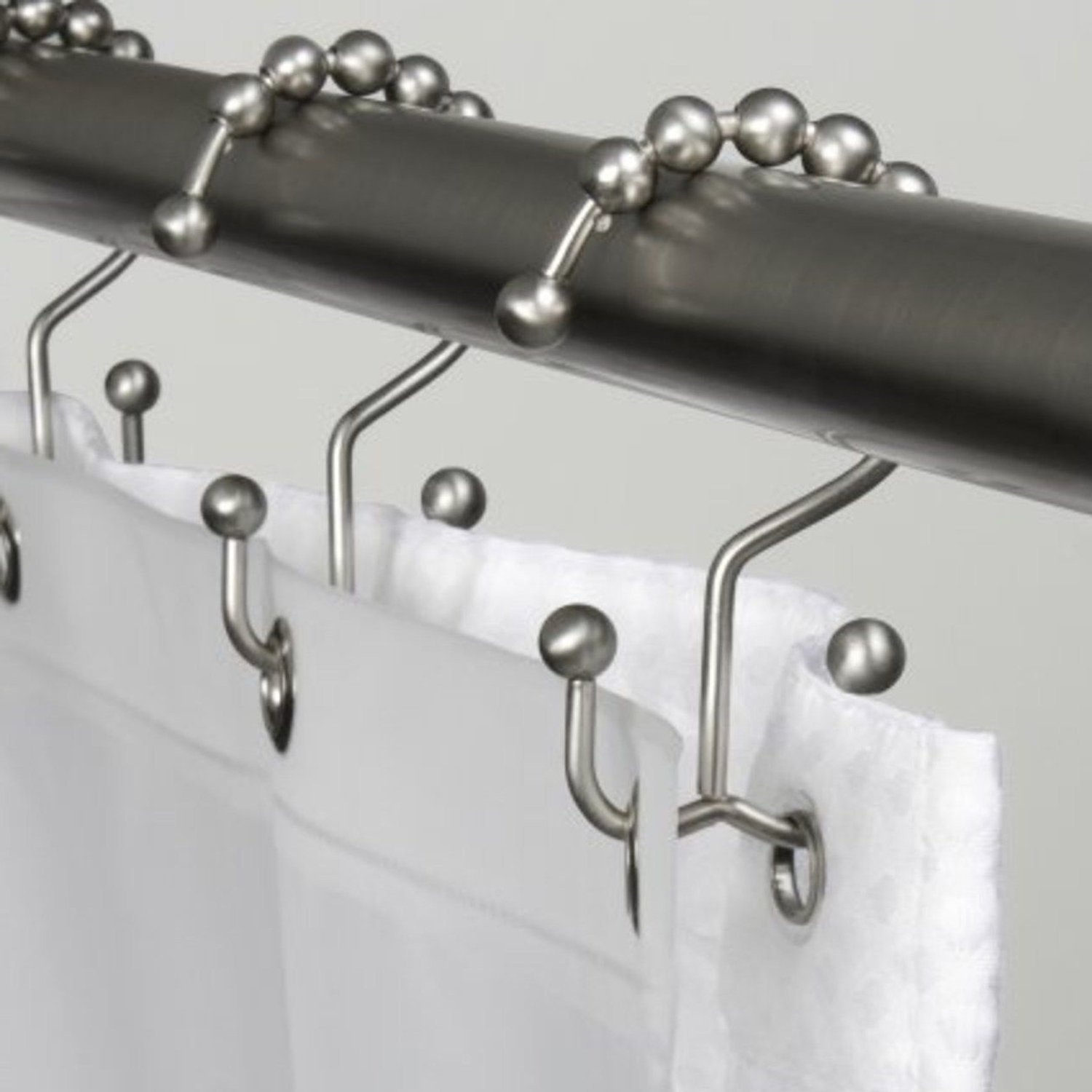 Brushed Nickel Aomidi Double Glide Roller Shower Curtain Hooks Rings 100 Stainless Steel Polished Chrome Set Of 12 Rings Brushed Nickel