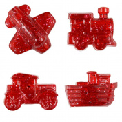 BEADTIN Red Sparkle Transportation Shaped Pony Beads