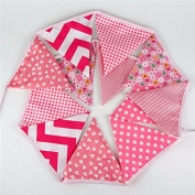 12 Flags 3.2m Cute Cotton Fabric Banners Personality Wedding Bunting Flags Pink Vintage Party Baby Show Garland Decoration