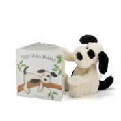 Jellycat Puppy Makes Mischief Board Book and Bashful Black and Cream Puppy, Medium 30cm