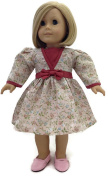 46cm Doll Clothes Fits 46cm American Girl Dolls Pink Floral Dress with Bow