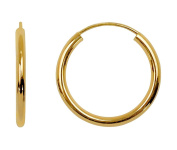 14K Yellow Gold Continuous Endless Hoop Earrings