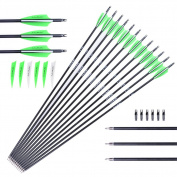 [Targeting Arrows] M.A.K 30-Inch 7.8mm Outer Diameter Carbon Outdoor Archery Practise Hunting Arrows with Removable Tips for Compound & Recuve Bow