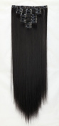 Off Black Clip in Synthetic Hair Extensions Hairpieces Japanese Kanekalon Fibre Full Head Thick Long Straight Soft Silky 8pcs 18clips 60cm / 60cm 1B# Natural Black