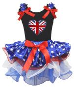United Kingdom Union Jack Heart Black Shirt Petal Skirt Baby Girl Outfit 1-8y
