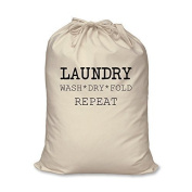 Laundry Bag Wash Dry Fold Repeat 100% Natural Cotton Home Storage Organisation Washing Basket